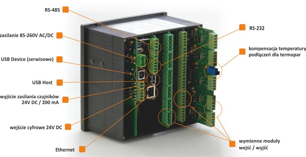 Bộ ghi dữ liệu MultiCon với đầu vào kỹ thuật số RS-485, RS-232, USB, 24V DC, đầu ra 24V DC